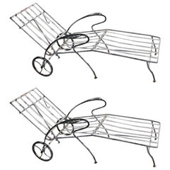 Pair of Painted Midcentury Wrought Iron Garden Chaise Lounges