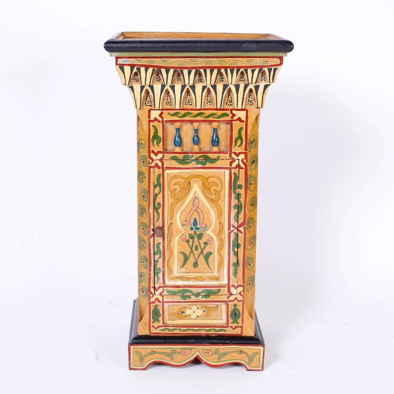 Moorish Pair of Painted Moroccan Stands For Sale