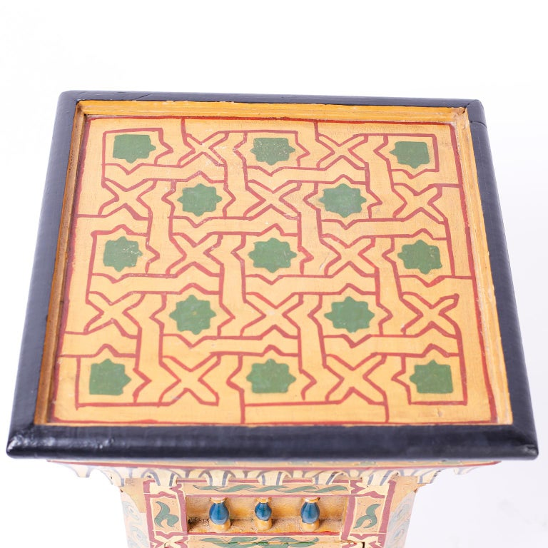 Carved Pair of Painted Moroccan Stands For Sale