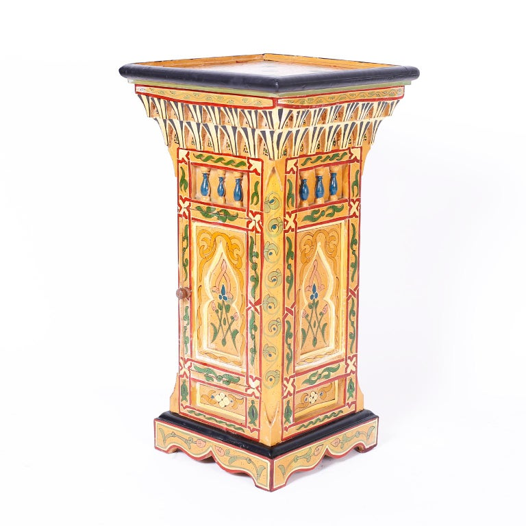 Pair of Painted Moroccan Stands In Good Condition For Sale In Palm Beach, FL