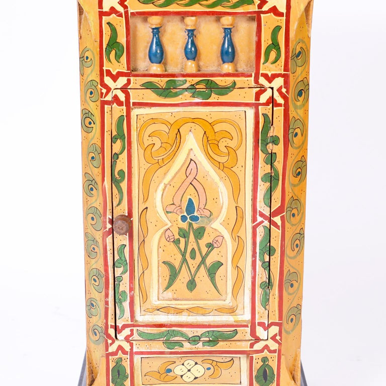 Wood Pair of Painted Moroccan Stands For Sale