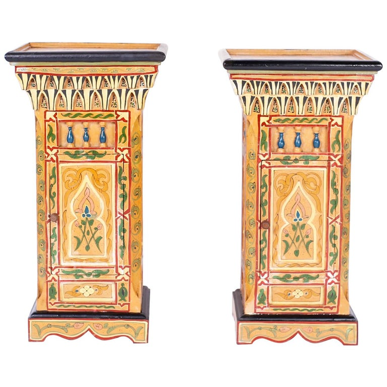 Pair of Painted Moroccan Stands For Sale