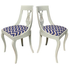 Pair of Painted Neoclassical Side Chairs In Chevron Linen