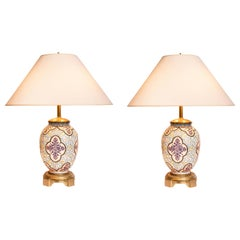 Pair of Painted Opaline and Bronze Table Lamps, Czech, Late 19th Century