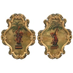 Pair of Painted Opposing Monkey Wall Plaques
