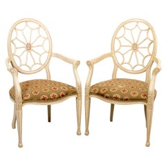 Pair of Painted Oval Pinwheel Back Armchairs