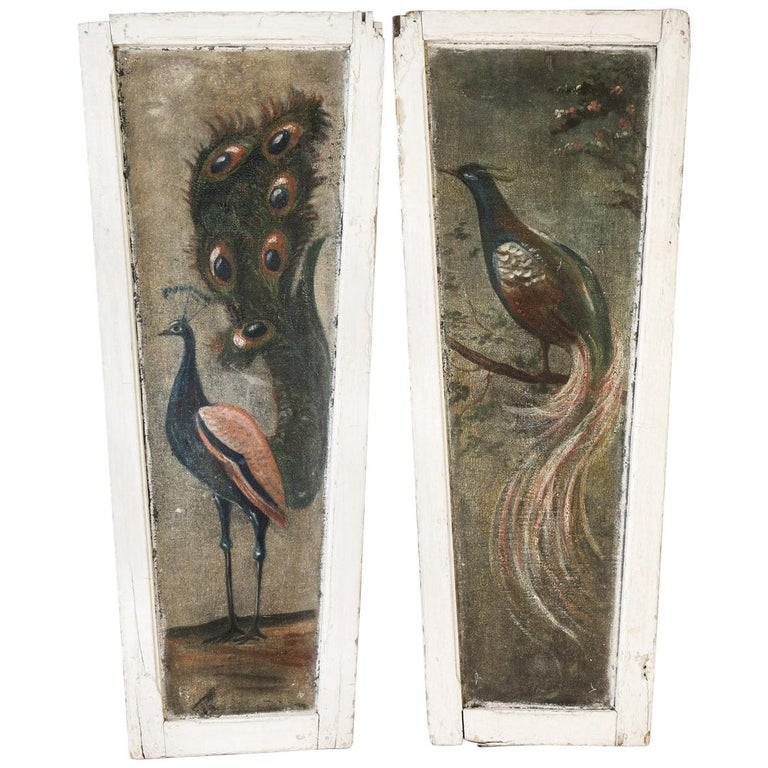 Pair of Painted Peacock  Panels For Sale
