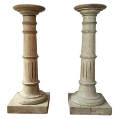 Pair of Painted Pine Columns Pedestals from France, circa 1820