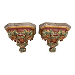 Pair of Painted Plaster Corbel Shelves, circa 1900