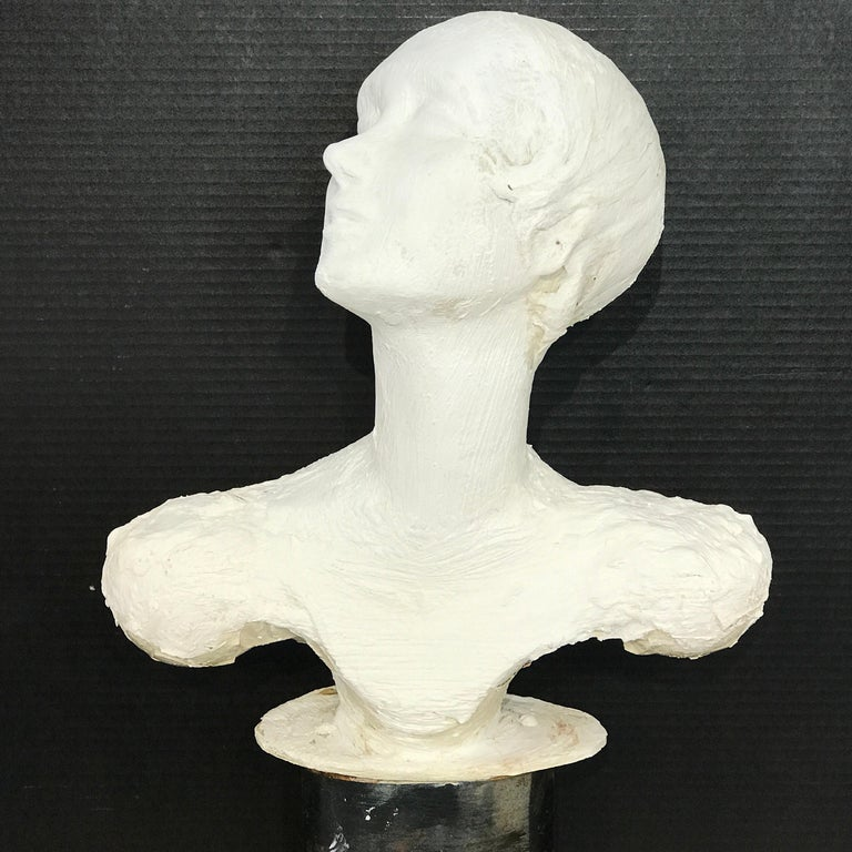 Pair of Painted Plaster Flapper Mannequin Busts For Sale 4
