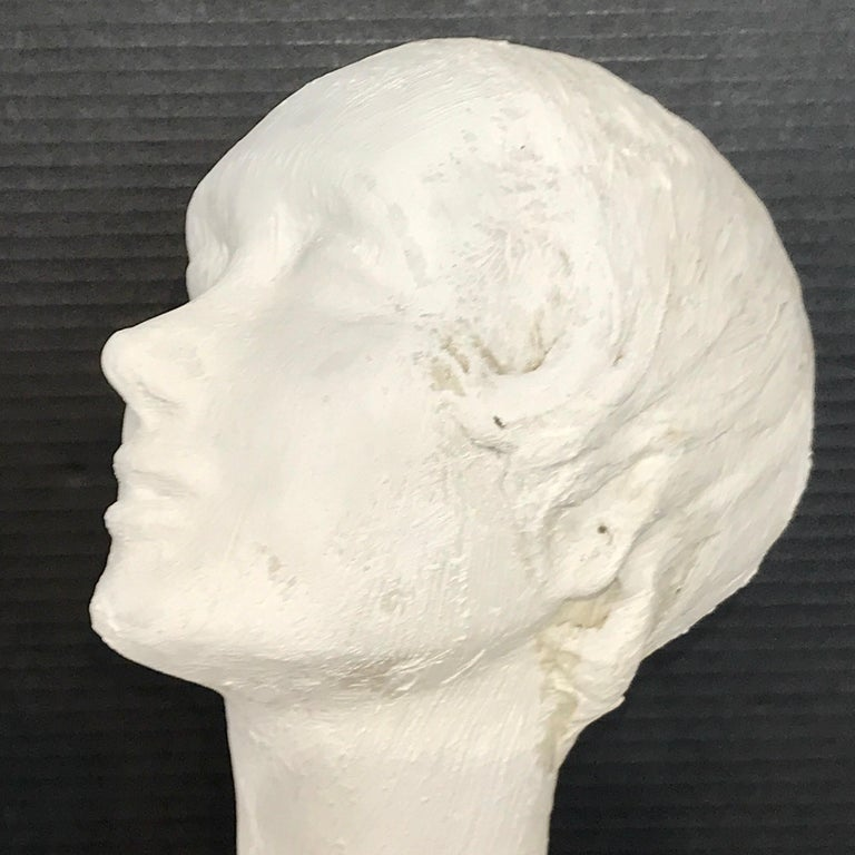 Pair of Painted Plaster Flapper Mannequin Busts For Sale 5