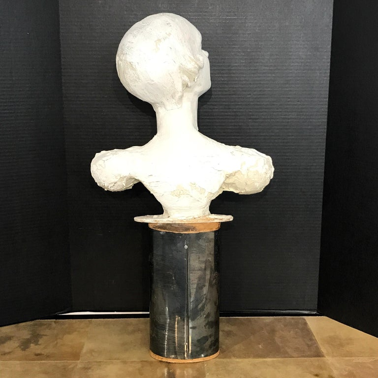 Pair of Painted Plaster Flapper Mannequin Busts For Sale 7
