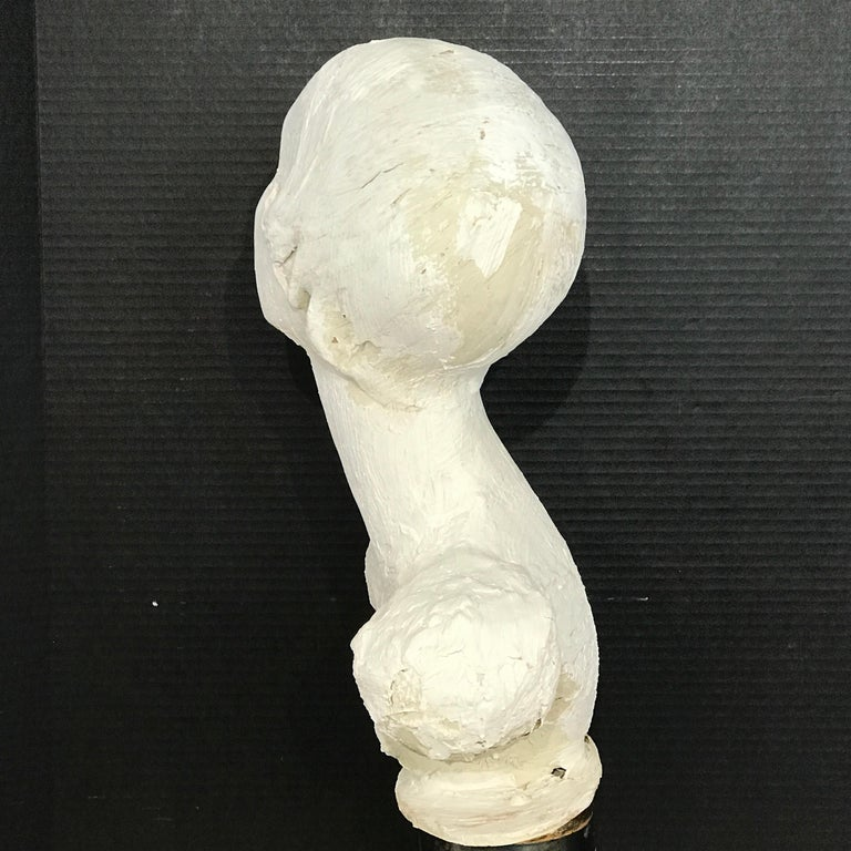 Pair of Painted Plaster Flapper Mannequin Busts For Sale 8