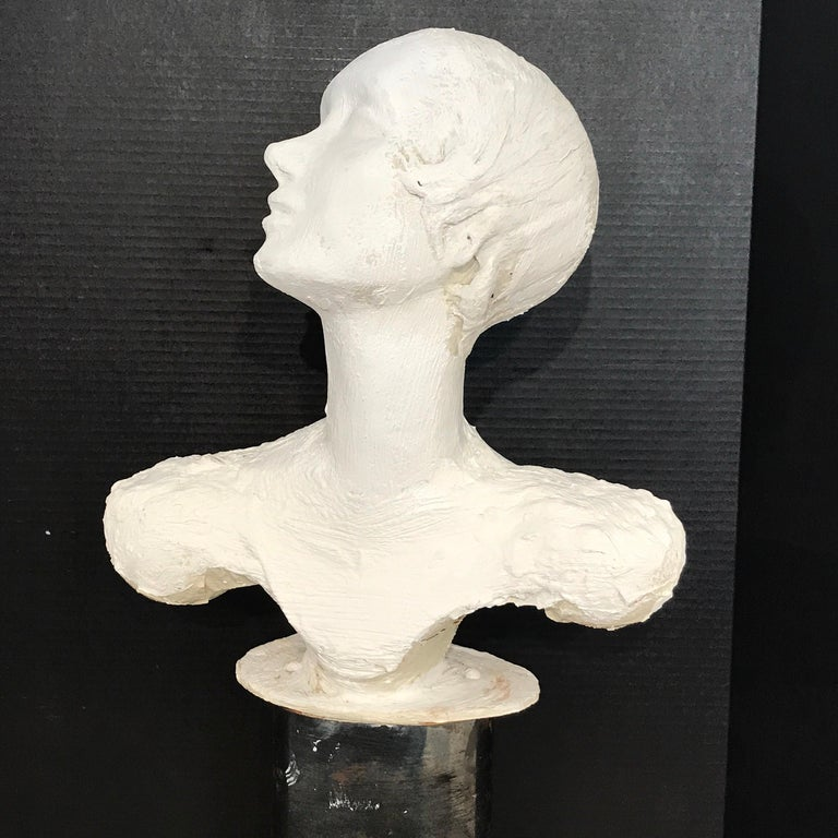 Pair of Painted Plaster Flapper Mannequin Busts For Sale 9