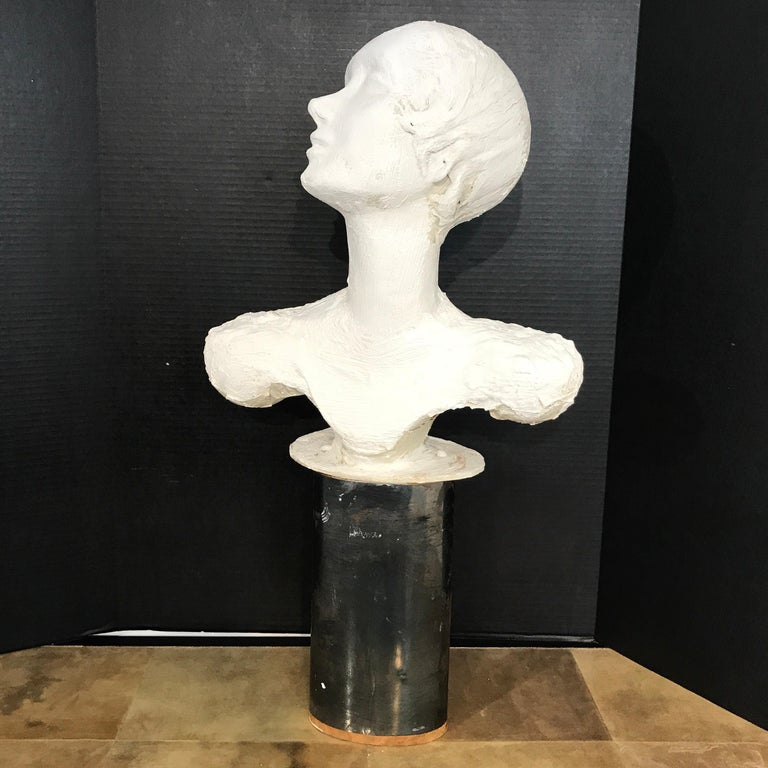 Pair of Painted Plaster Flapper Mannequin Busts For Sale 10