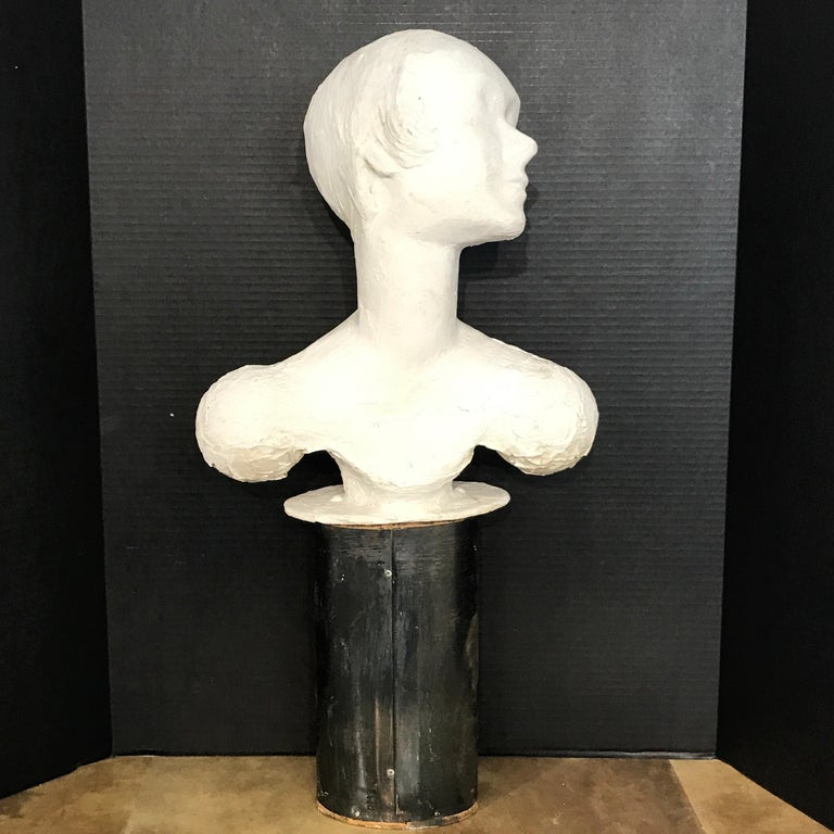 Art Deco Pair of Painted Plaster Flapper Mannequin Busts For Sale