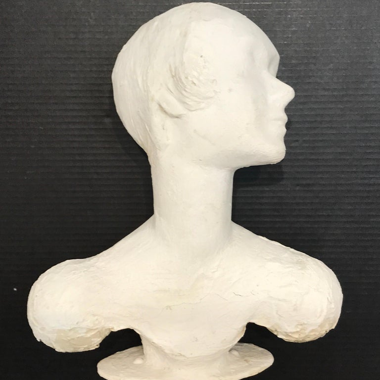 American Pair of Painted Plaster Flapper Mannequin Busts For Sale