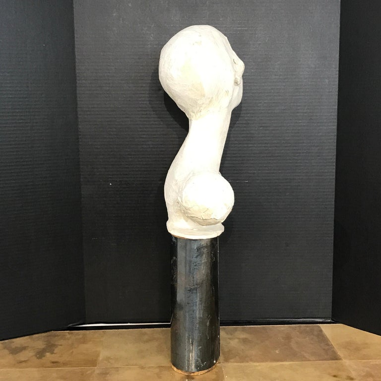 20th Century Pair of Painted Plaster Flapper Mannequin Busts For Sale