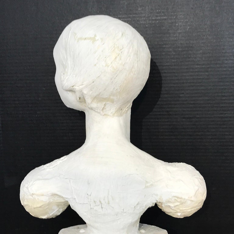 Pair of Painted Plaster Flapper Mannequin Busts For Sale 1
