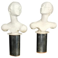Pair of Painted Plaster Flapper Mannequin Busts