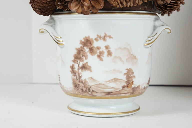 Pair of Painted Porcelain Cache Pots from the Estate of Bunny Mellon In Good Condition For Sale In Hudson, NY