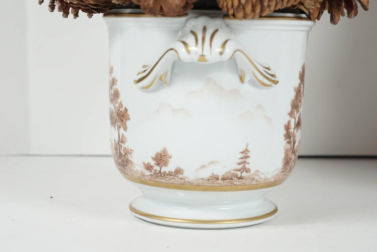 20th Century Pair of Painted Porcelain Cache Pots from the Estate of Bunny Mellon For Sale