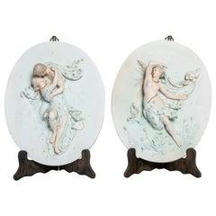 Pair of Painted Porcelain Plaques, Art Nouveau Period, France, Late 19th Century