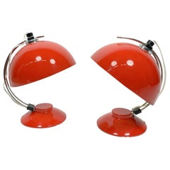 Pair of Painted Red Space Age Lamps, 1960s-1970s