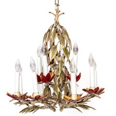 Pair of Painted Red Tole Chandeliers in Leaf Motif