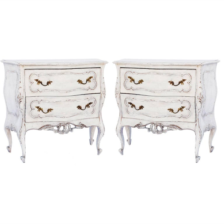 Pair of Painted Rococo-Style Nightstand Commodes