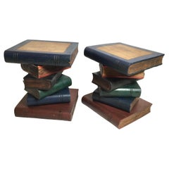 Pair of Painted Solid Wood Stacked Book Side Tables