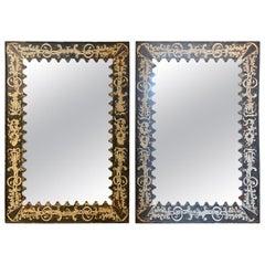 Pair of Painted Spanish Metal Mirrors