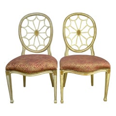 Pair of Painted Spider Back Hepplewhite Chairs, 20th Century