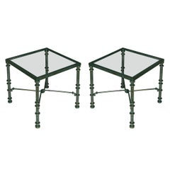 Pair of Painted Square Verdigris Glass Top Tables