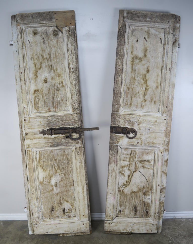 Pair of Painted Swedish Doors with Original Iron Hardware For Sale 4