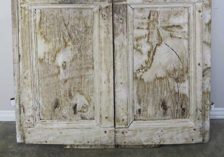 Hand-Painted Pair of Painted Swedish Doors with Original Iron Hardware For Sale
