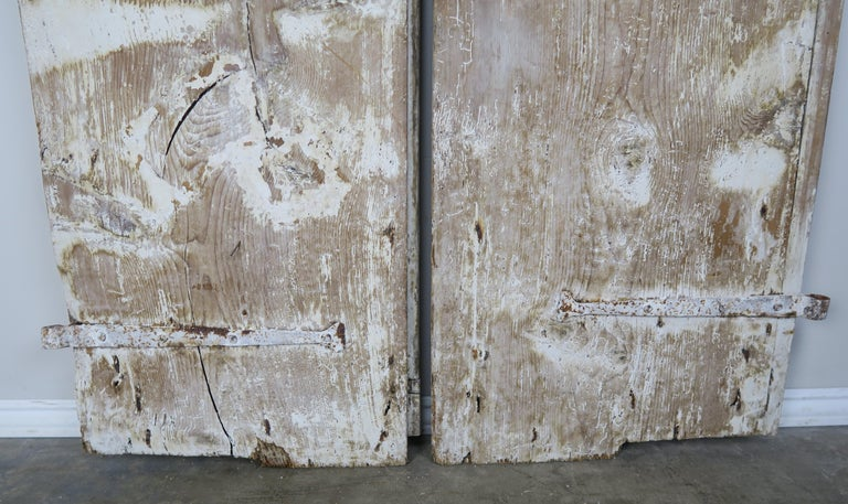 Pair of Painted Swedish Doors with Original Iron Hardware For Sale 1