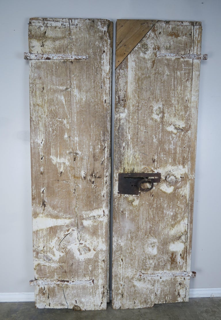 Pair of Painted Swedish Doors with Original Iron Hardware For Sale 2