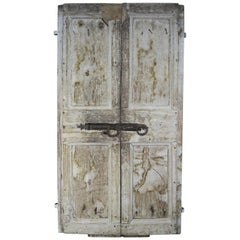 Pair of Painted Swedish Doors with Original Iron Hardware