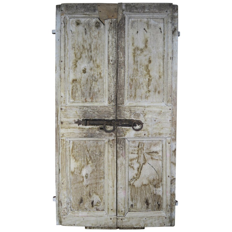 Pair of Painted Swedish Doors with Original Iron Hardware For Sale