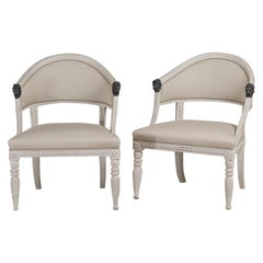Pair of Painted Swedish Empire Armchairs, circa 1800