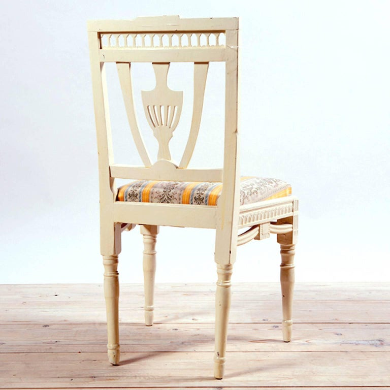 Hardwood Pair of Painted Swedish Gustavian Side Chairs with Upholstered Seat, circa 1810 For Sale