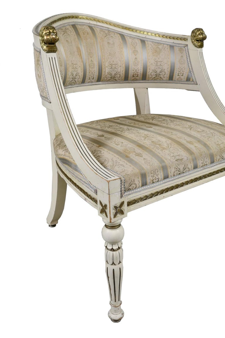 Pair of Painted Swedish Gustavian-Style Gondola Armchairs with Upholstery For Sale 10
