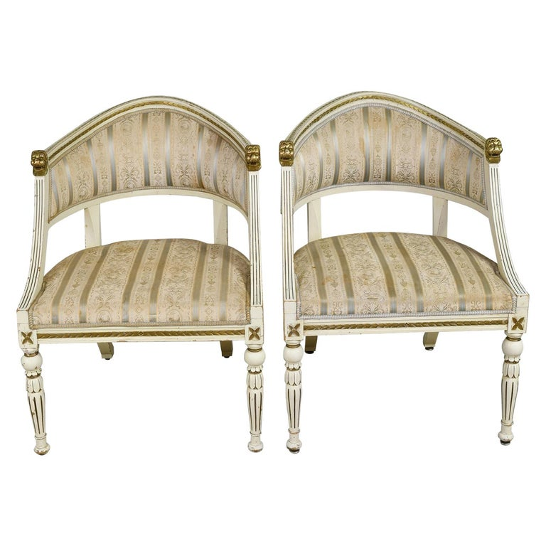 Pair of Painted Swedish Gustavian-Style Gondola Armchairs with Upholstery For Sale