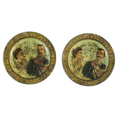 Pair of Painted Tin Coasters, Italy, Early 20th Century