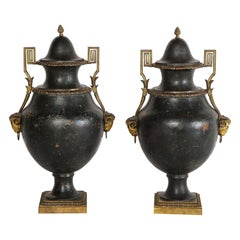 Pair of Painted Tole and Dore Bronze Mounted Neoclassical Style Covered Vases