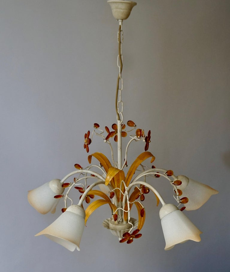 Pair of Painted Tole Bell-Shaped Five-Light Chandelier with Murano Glass Flowers For Sale 3