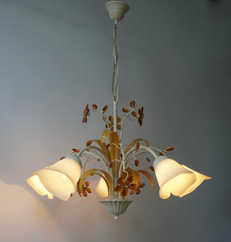 Pair of Painted Tole Bell-Shaped Five-Light Chandelier with Murano Glass Flowers For Sale 4