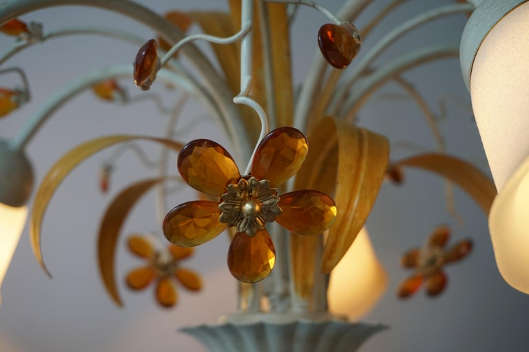 Pair of Painted Tole Bell-Shaped Five-Light Chandelier with Murano Glass Flowers For Sale 5