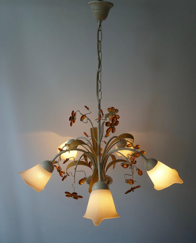 Pair of Painted Tole Bell-Shaped Five-Light Chandelier with Murano Glass Flowers For Sale 7